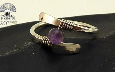 Amethyst and Forged Sterling Silver Ring