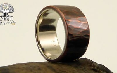 Rustic, Forged Copper & Fine Silver Ring